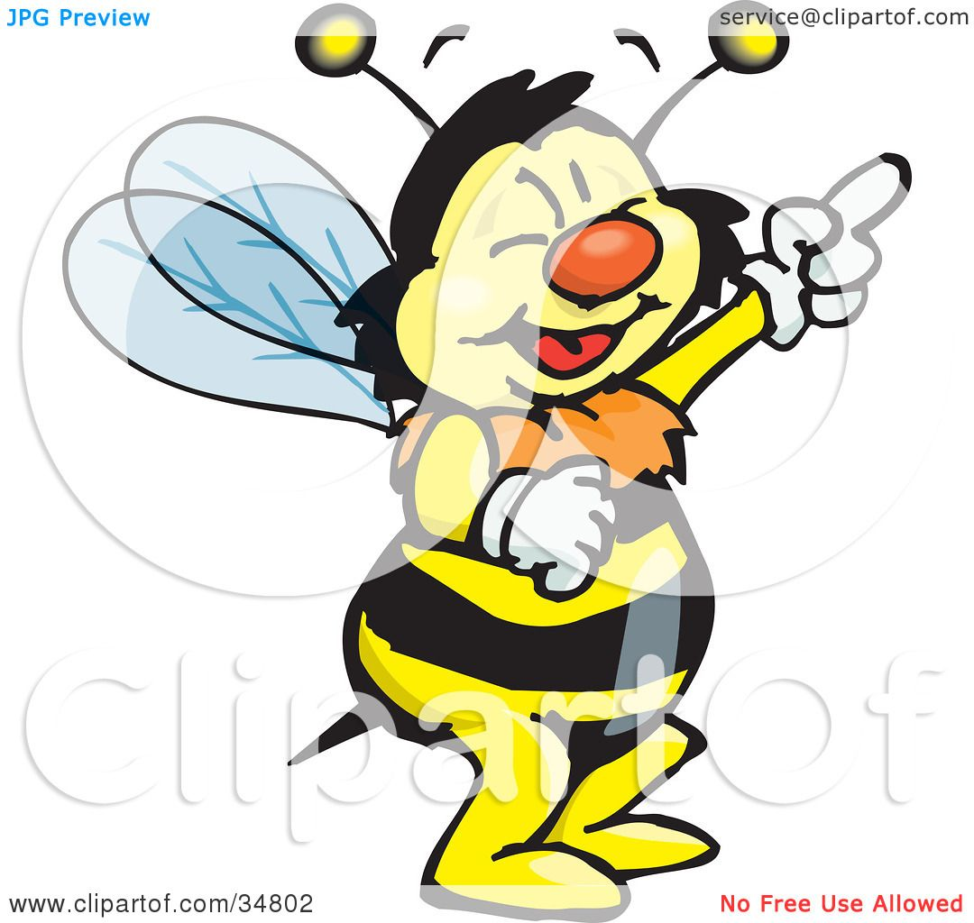 Clipart Illustration of a Bumble Bee Character Laughing And.