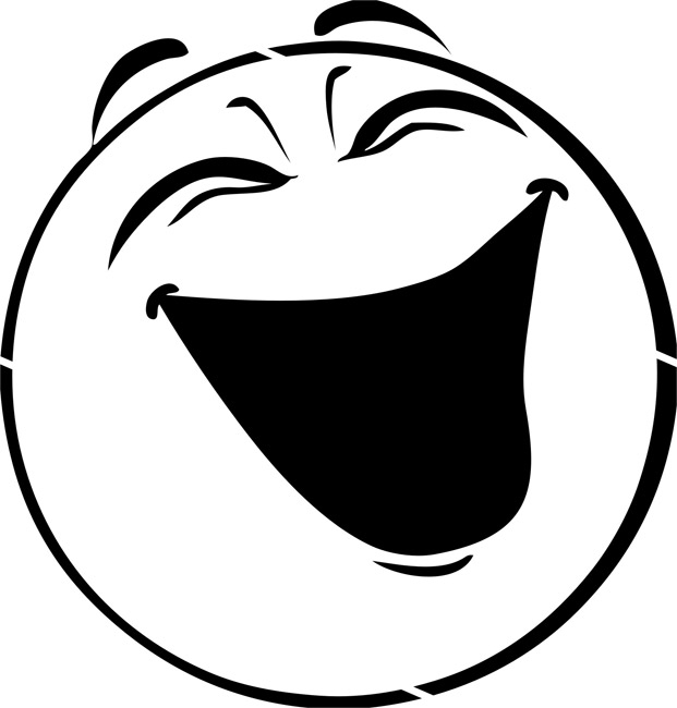 Laughing clipart black and white.