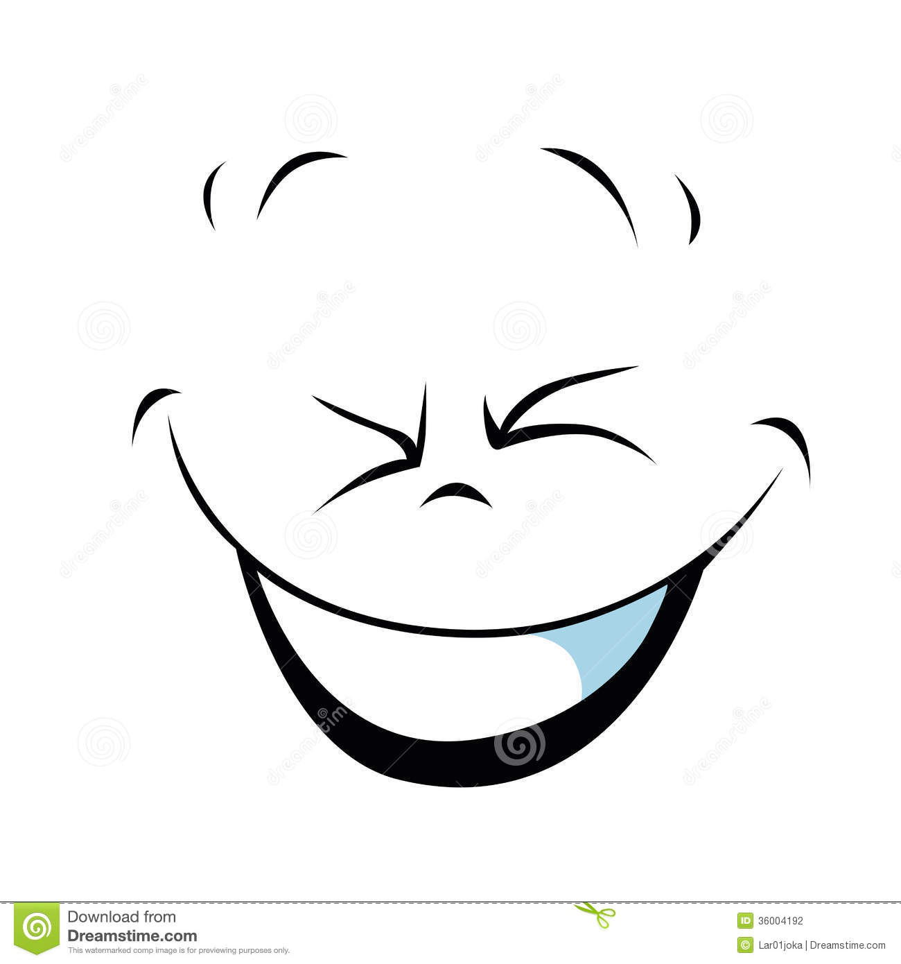 Laughing Smiley Face Black And White.