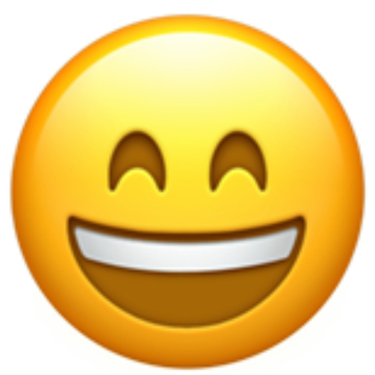 A happy and smiling face with big open mouth, showing teeth.