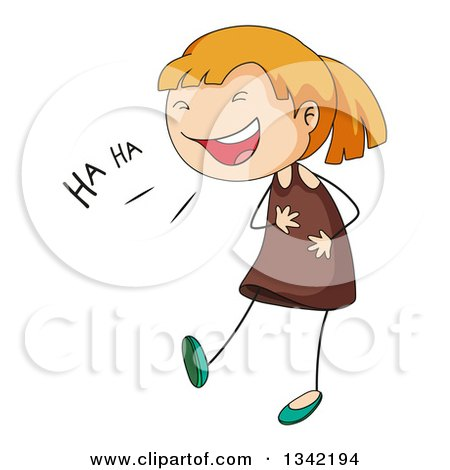 Clipart of a Cartoon White Stick Girl Laughing and Holding.