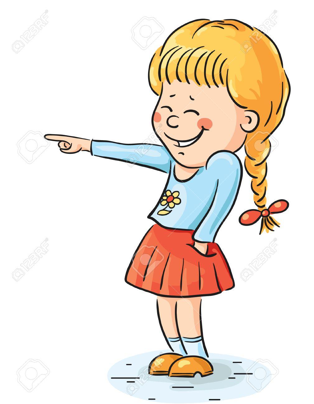Carton laughing girl pointing at something.