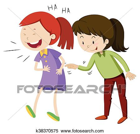 Two happy girls laughing Clipart.