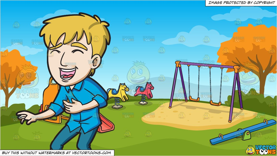 A Guy Laughing Out Loud and Kids Playground On An Autumn Day Background.