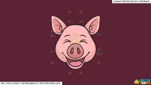 Clipart: A Laughing Pig on a Solid Red Wine 5B2333 Background.