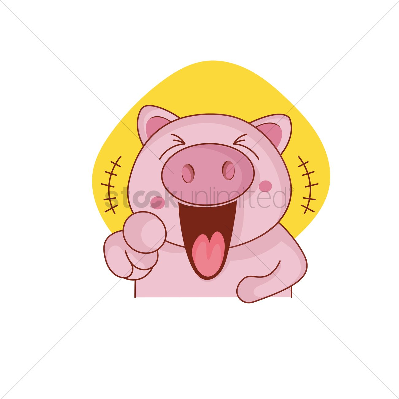 Pig character laughing and pointing Vector Image.