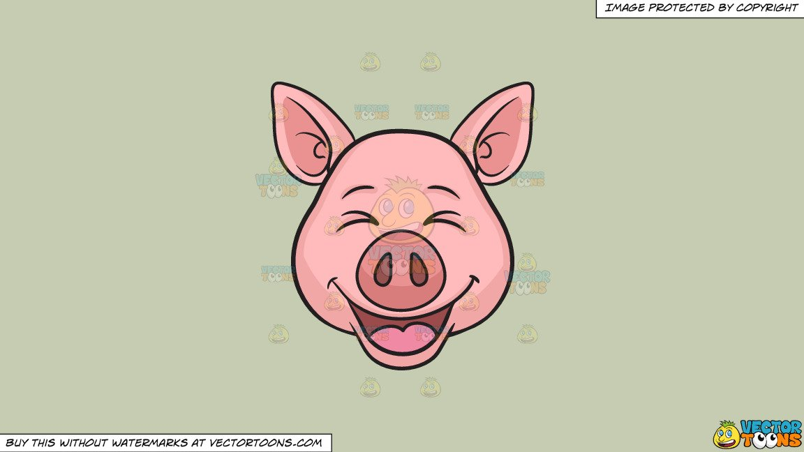 Clipart: A Laughing Pig on a Solid Pale Silver C6Ccb2 Background.