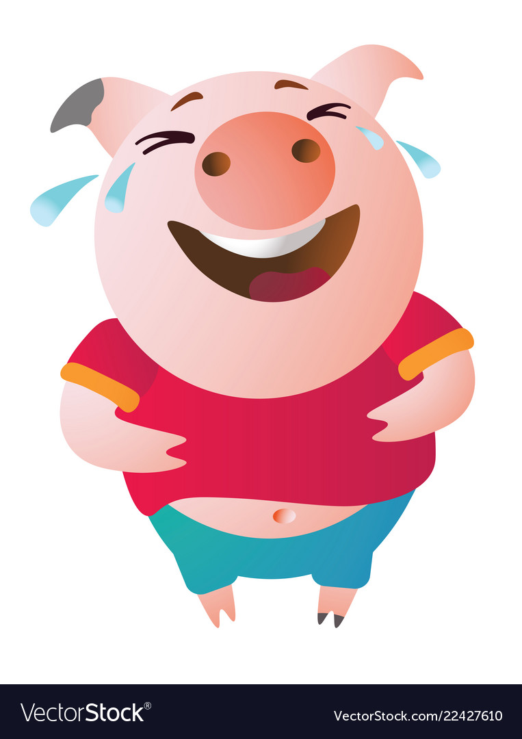 Emoji character pig laughs to tears vector image.