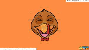 Clipart: A Laughing Turkey on a Solid Mango Orange Ff8C42 Background.