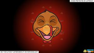 Clipart: A Laughing Turkey on a Red And Black Gradient Background.