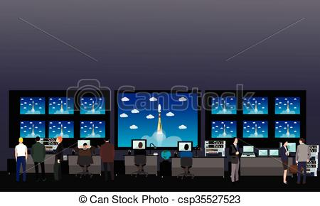 Vector Illustration of Space mission control center. Rocket launch.