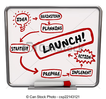 Stock Photo of Launch New Business Dry Erase Board Plan Strategy.