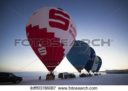 "Picture of ""Launch preparation of hot air balloons, Sachsenkam."