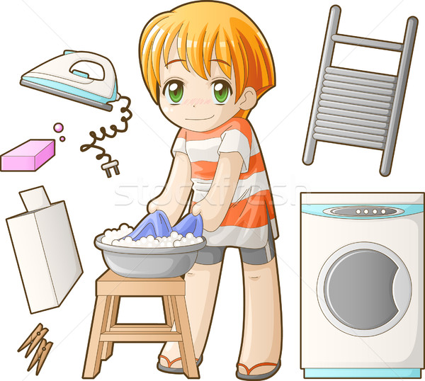 Chibi professions set: Laundress vector illustration © Anastasiya.