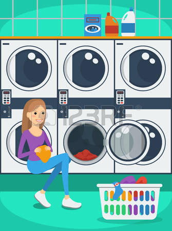 1,080 Laundromat Stock Vector Illustration And Royalty Free.