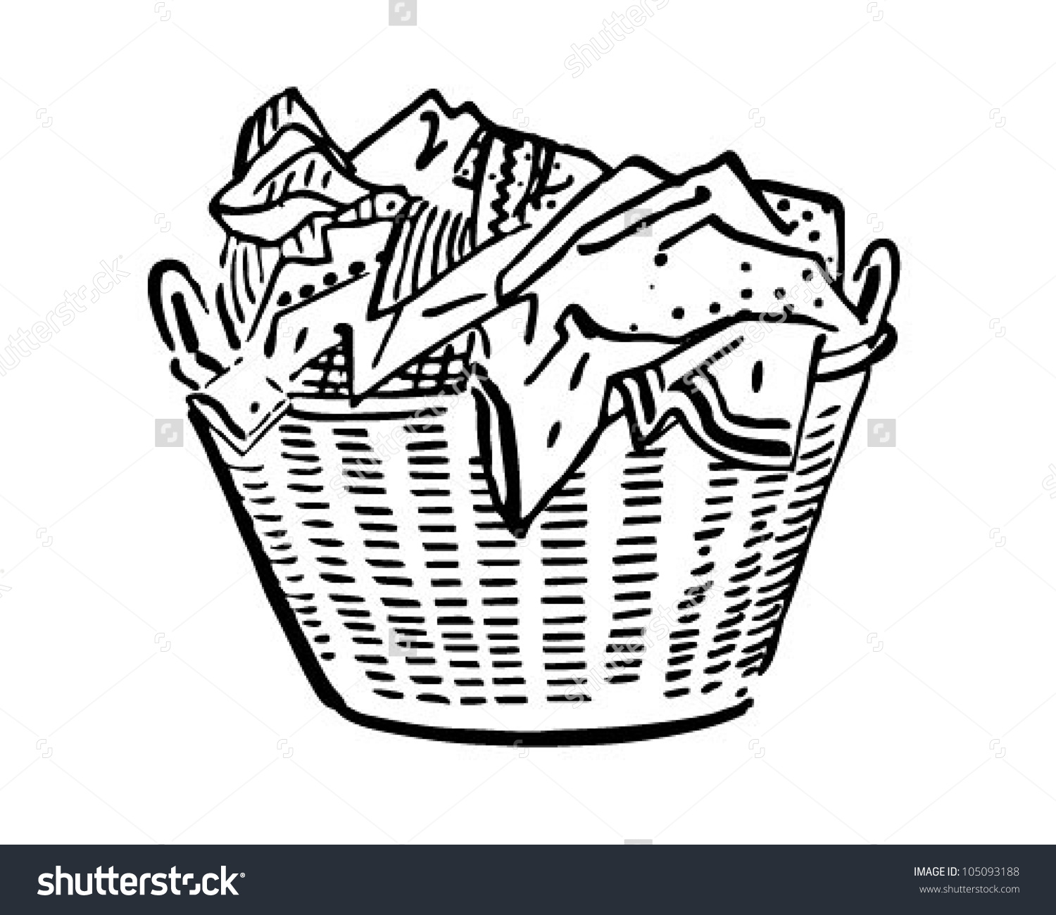 Laundry Basket Retro Clipart Illustration Stock Vector 105093188.