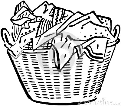Laundry Basket Clipart Black And White.