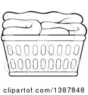 Clipart of a Black and White Lineart Clothes Line with Laundry Air.