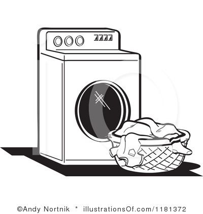 Laundry Basket Clip Art Black and White.
