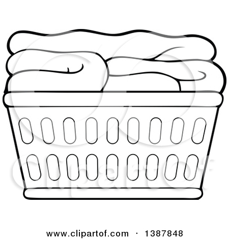 Laundry basket clipart black and white clipground for Laundry coloring pages
