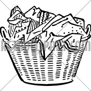 Laundry Basket Clip Art Black and White.