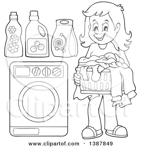 Clipart of a Cartoon Black and White Lineart Laundry Washing.
