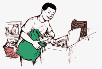 Free Clipart Of A Boy Doing Laundry.
