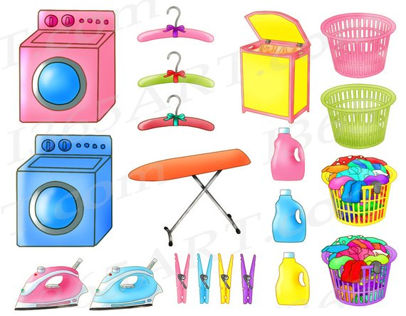 50% OFF Laundry clipart, laundry clip art, clothes washing.