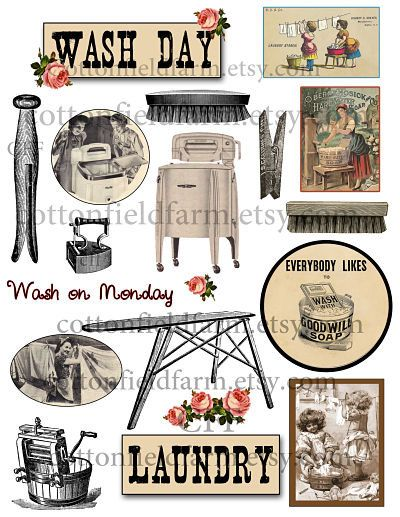 Vintage Laundry Wash Day Clip Art C.