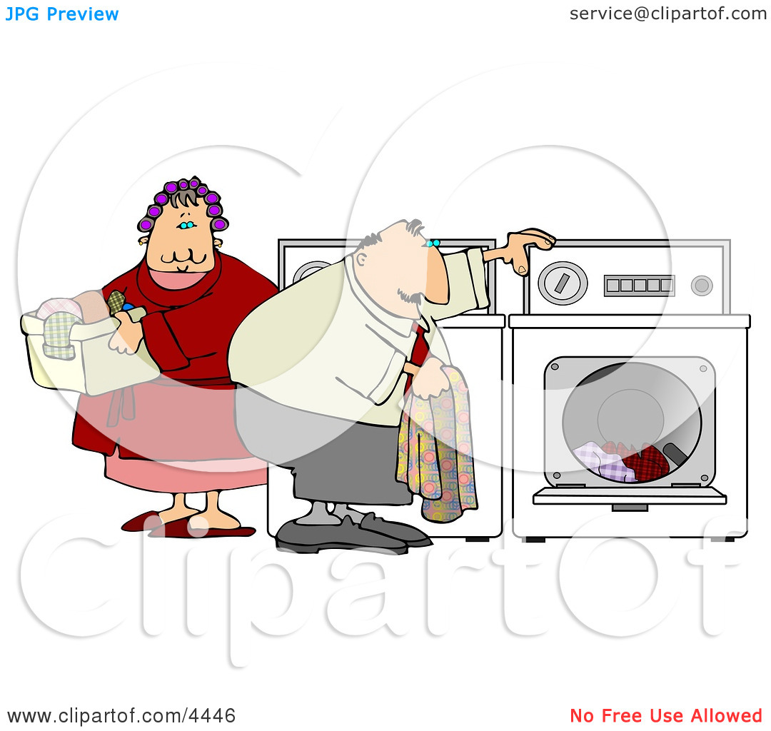 Overweight Man and Woman Washing Clothes Together On Laundry Day.