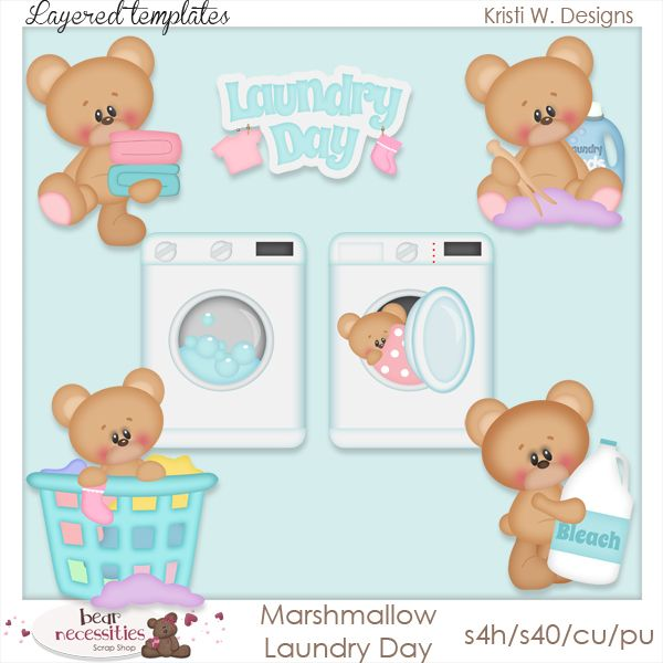 Marshmallow Laundry Day clipart and layered templates. www.