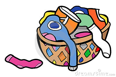Dirty Clothes In Hamper Clipart.
