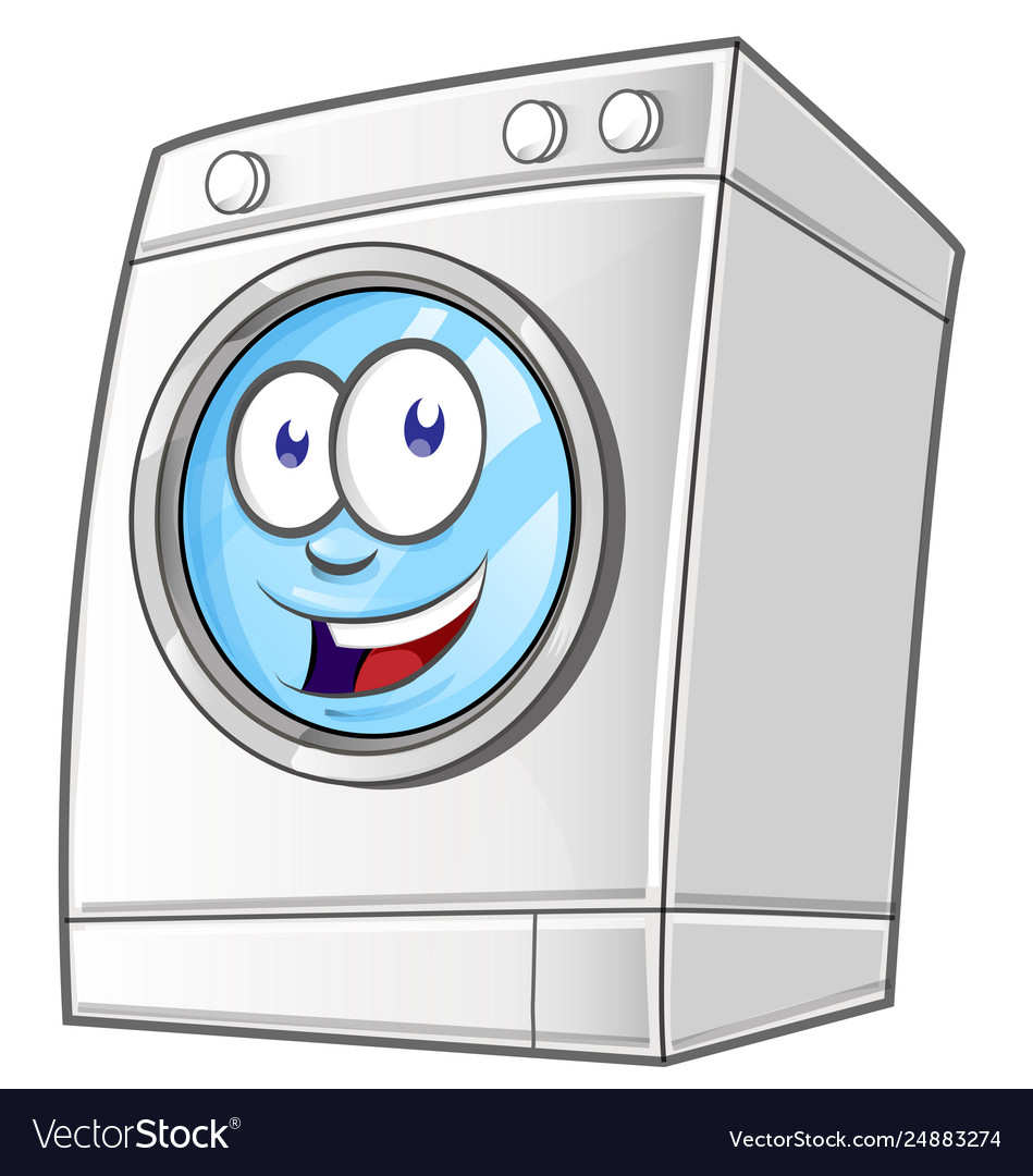 Cartoon washing machine clip art with simple.