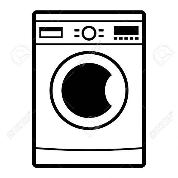 Washing Machine Icon On White Background Royalty Free.