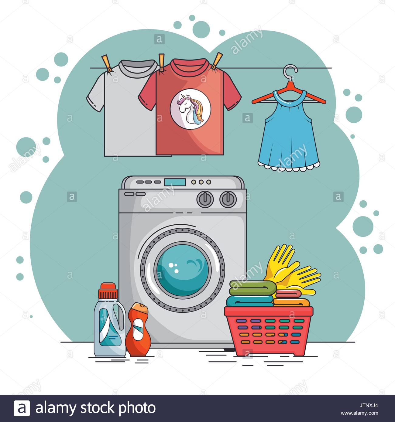 laundry room with washing machine and clothes vector.