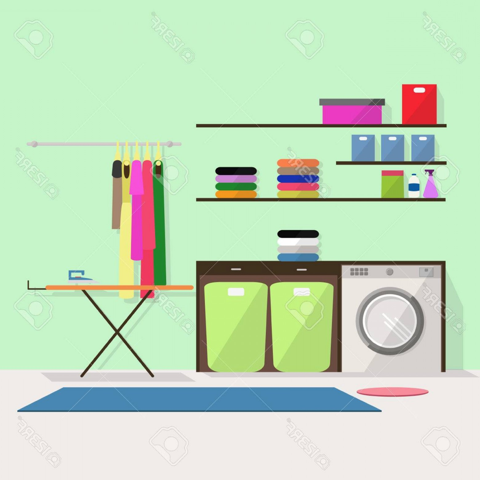 Photostock Vector Laundry Room With Washing Machine Iron.