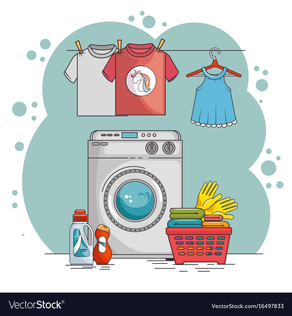 Laundry room with washing machine and clothes Vector Image.