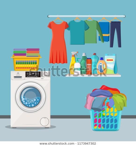 Laundry Room Service Washing Machine Linen Stock Vector.