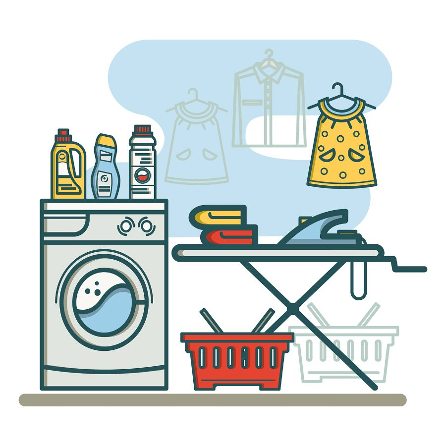 Free Laundry Room Linear Icons.