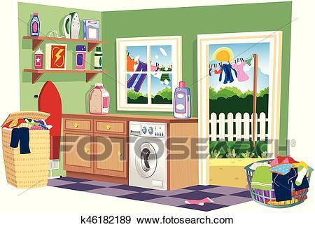 Washing day laundry room. eps Clip Art.