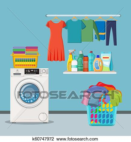 Laundry room service Clipart.