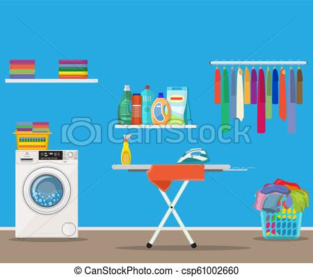 Laundry room with washing machine,.