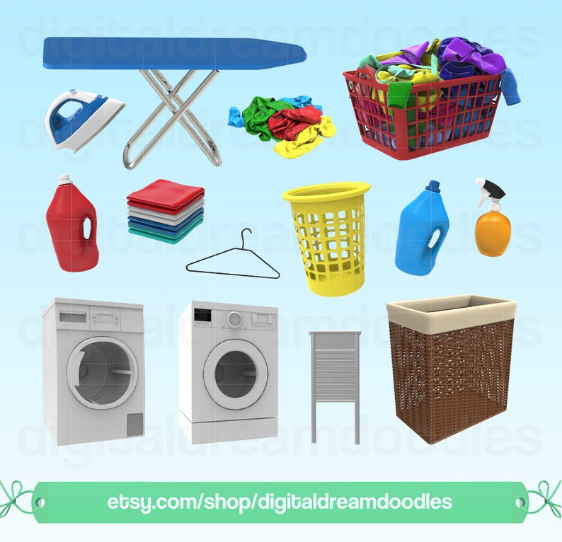 Laundry Clipart, Laundry Room Clip Art, Laundry Basket Image, Washer PNG,  Dryer Graphic, Hamper Scrapbook, Spring Cleaning Digital Download.
