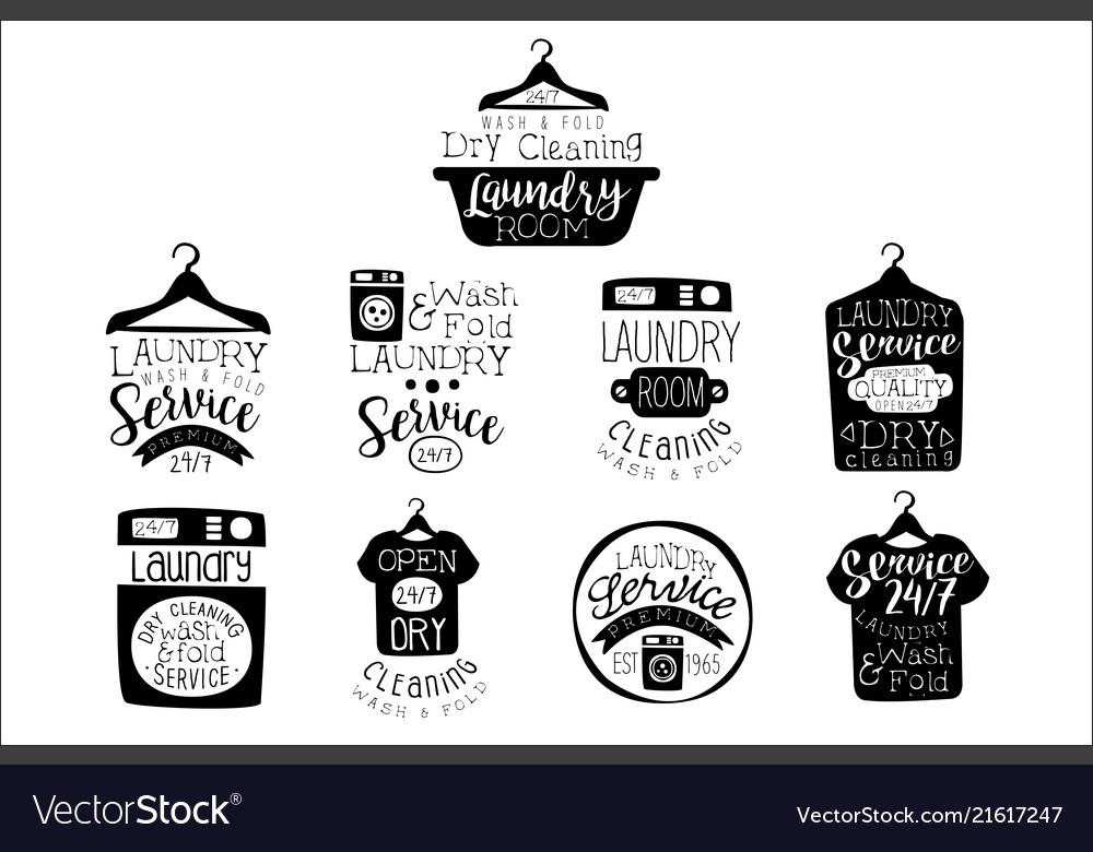 Laundry room black and white label set.