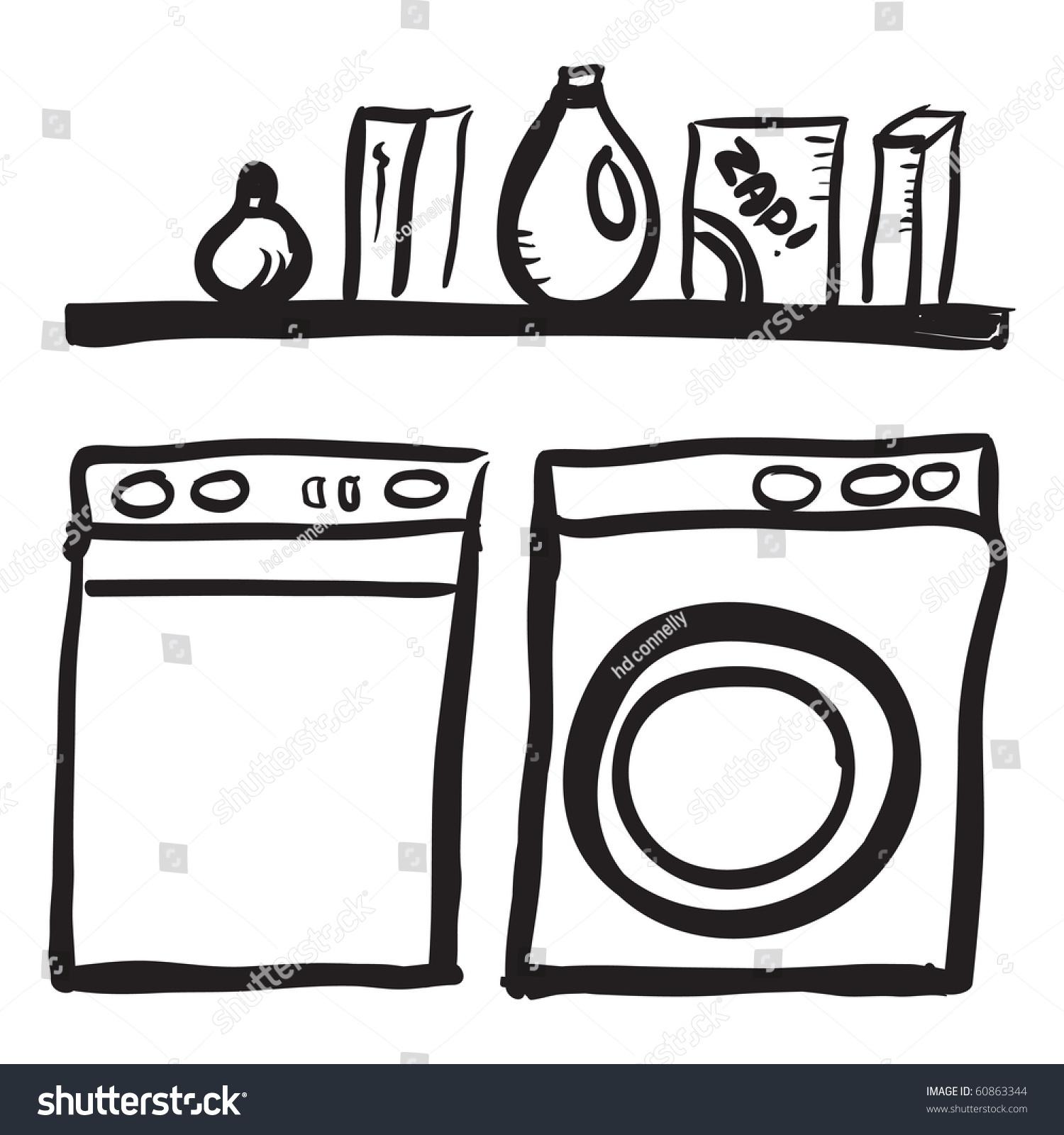 Laundry Room Clip Art Cliparts, Clip Art Black White Laundry.