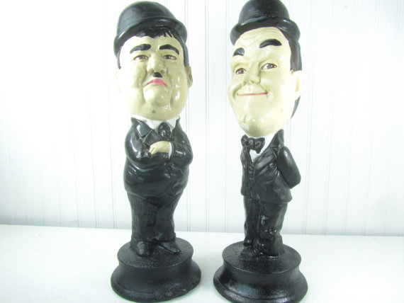 Laurel and Hardy vintage figurine statuecomic by KarensChicNShabby.