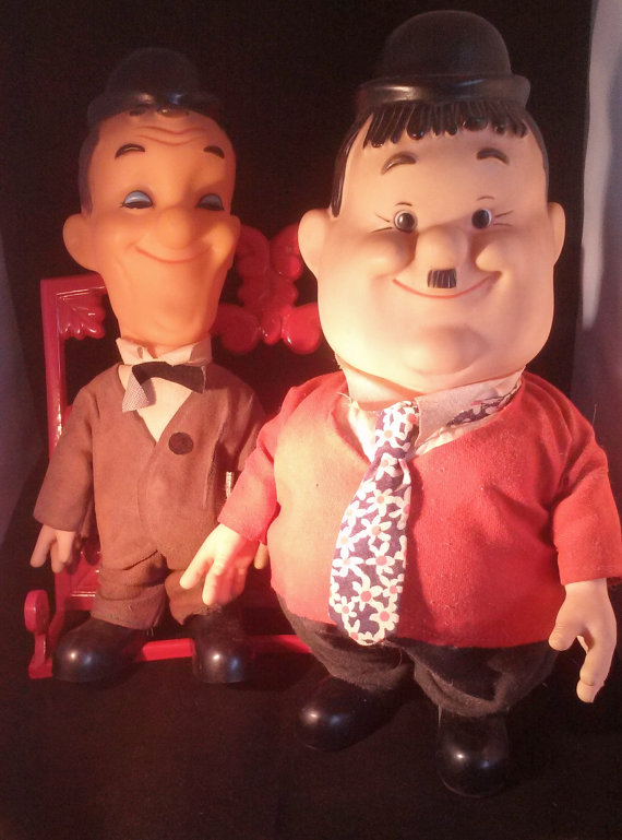 Laurel and Hardy Plastic Figurine Dolls by Larry by myatticscharms.