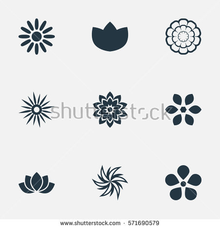 Tree Weather Flower Icons Signs set Black Stock Vector 411852670.
