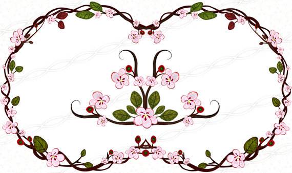 Instant download 300dpi png frames bloom clip art borders signs.