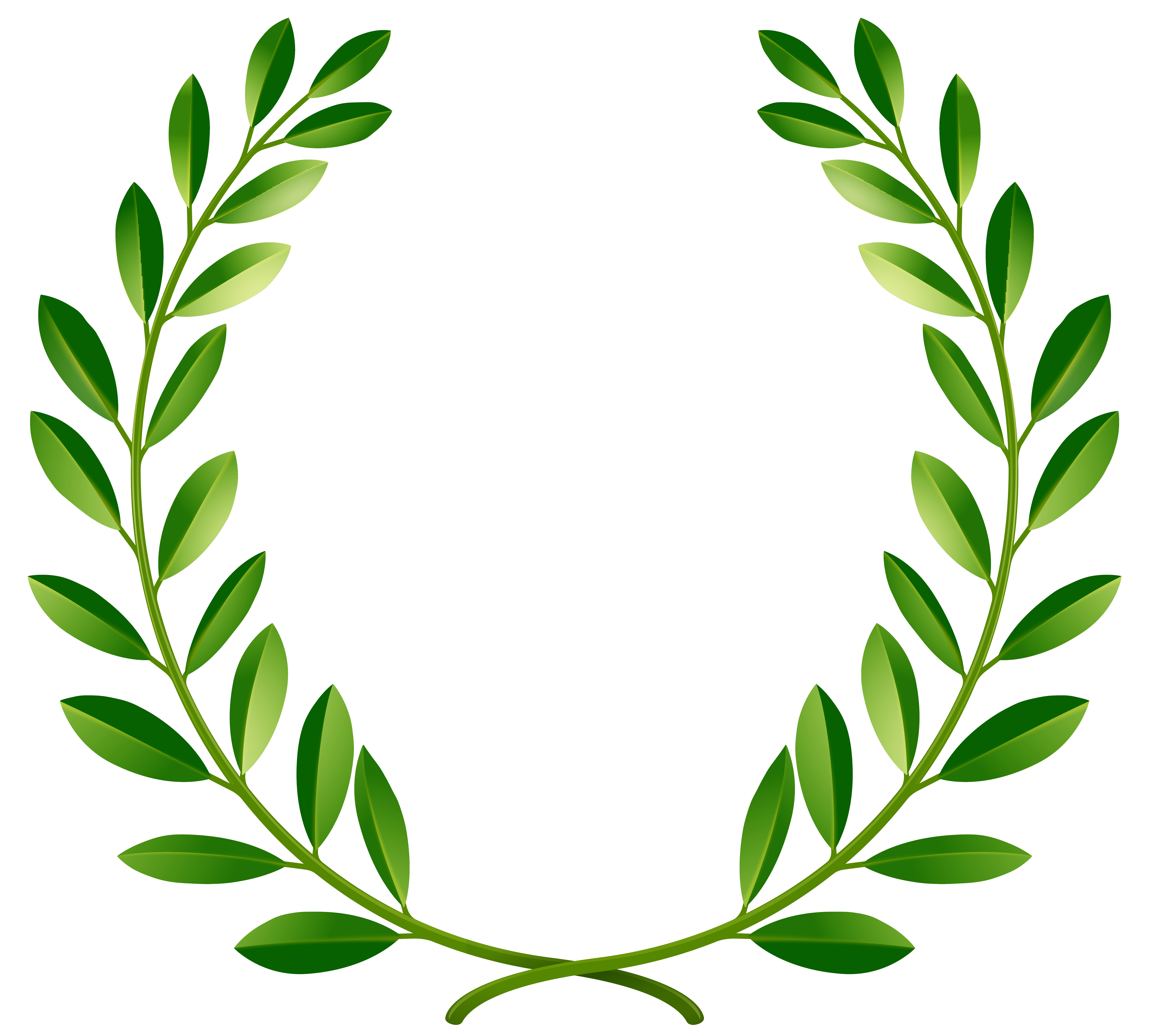 Green Laurel Leaves PNG Clip Art Image.